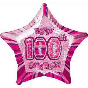 Happy 100th Birthday Pink Glitz Foil Balloon