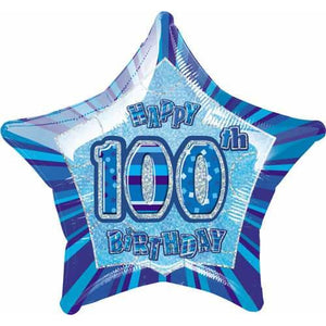 Happy 100th Birthday Blue Glitz Foil Balloon