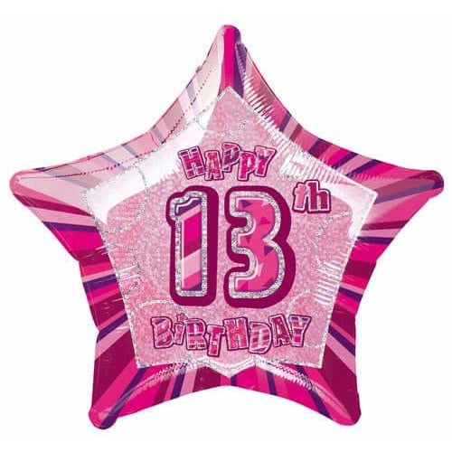 Happy 13th Birthday Pink Glitz Foil Balloon