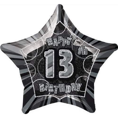 Happy 13th Birthday Black Glitz Foil Balloon