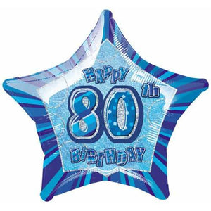 Happy 80th Birthday Blue Glitz Foil Balloon