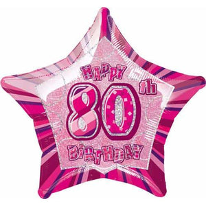 Happy 80th Birthday Pink Glitz Foil Balloon