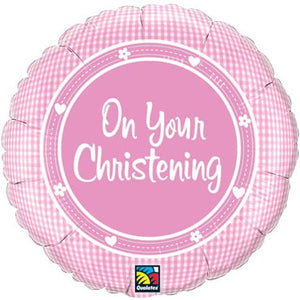 On Your Christening Girl Foil Balloon - mypartymonsterstore