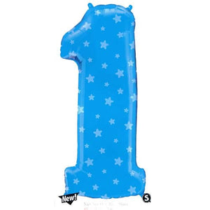 Number 1 Blue Stars Supershape Balloon - mypartymonsterstore