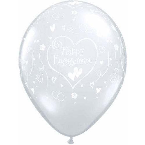 Engagement Hearts Diamond Clear Latex Balloons x50