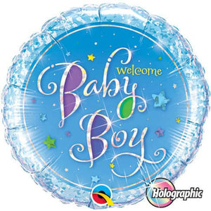 Welcome Baby Boy Stars Foil Balloon - mypartymonsterstore