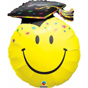 Smiley Face Party Grad Supershape Balloon - mypartymonsterstore