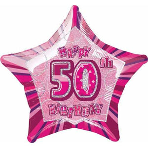 Happy 50th Birthday Pink Glitz Foil Balloon