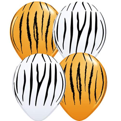 Zebra And Tiger Stripes Assorted Latex Balloons x50
