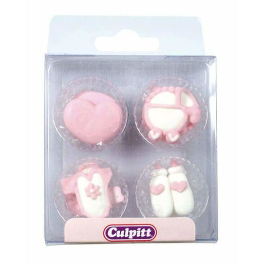 Pink Baby Sugar Pipings x12