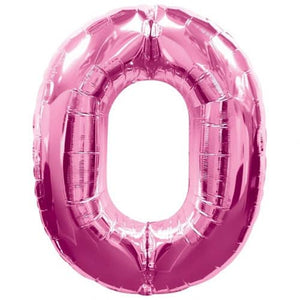 Pink Number 0 Foil Balloon