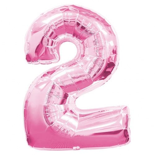 Pink Number 2 Foil Balloon