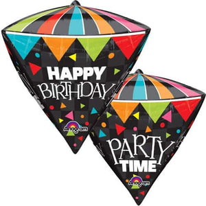 Happy Birthday Party Time Diamondz Balloon - mypartymonsterstore