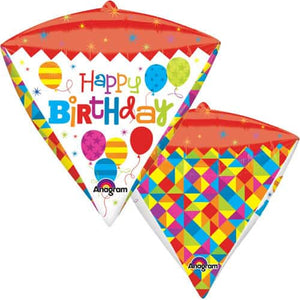Happy Birthday Geometric Diamondz Balloon - mypartymonsterstore