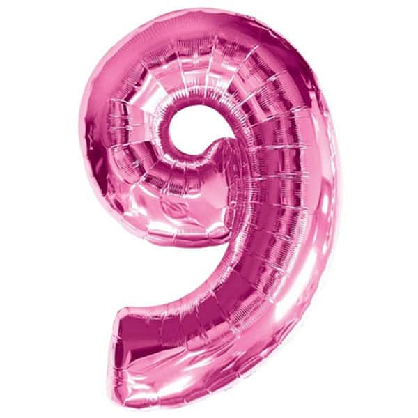Pink Number 9 Foil Balloon