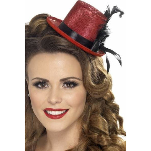 Red Mini Top Hats With Ribbon