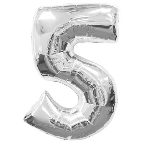 Silver Number 5 Foil Balloon