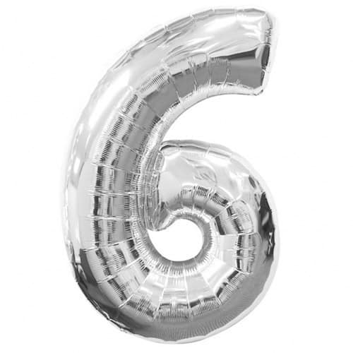 Silver Number 6 Foil Balloon