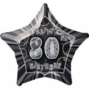 Happy 80th Birthday Black Glitz Foil Balloon