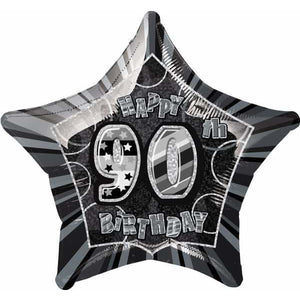 Happy 90th Birthday Black Glitz Foil Balloon