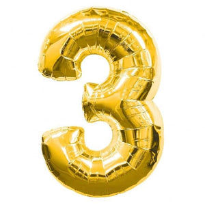 Gold Number 3 Foil Balloon