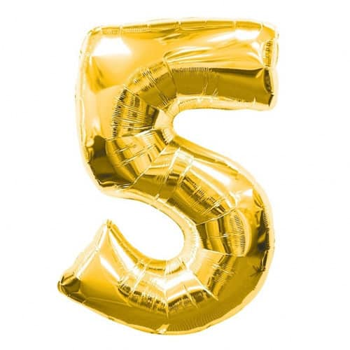 Gold Number 5 Foil Balloon