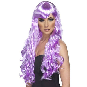 Long Lilac Curly Wigs With Fringe - mypartymonsterstore