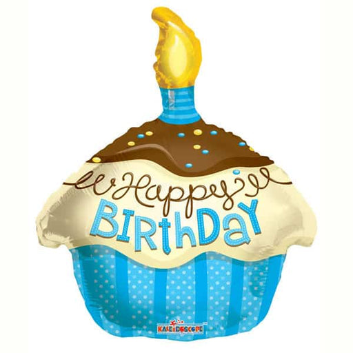 Happy Birthday Blue Cupcake Foil Balloon