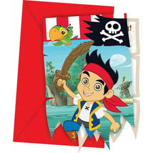 Disney Jake And Neverland Pirate Invites And Envelopes x6 - mypartymonsterstore