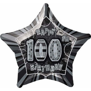 Happy 100th Birthday Black Glitz Foil Balloon