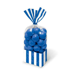 Royal Blue Candy Striped Party Bags 10pk - mypartymonsterstore