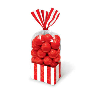 Red Candy Striped Party Bags 10pk - mypartymonsterstore