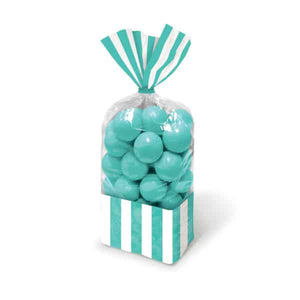 Robins Egg Blue Candy Striped Party Bags 10pk - mypartymonsterstore