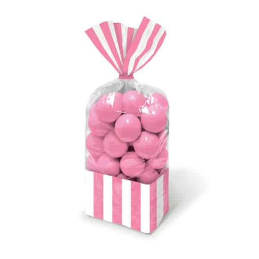 Light Pink Candy Striped Party Bags 10pk