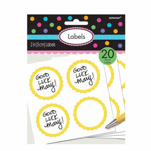 Yellow Candy Sweet Labels 20pk - mypartymonsterstore