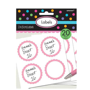 Light Pink Candy Sweet Labels 20pk - mypartymonsterstore