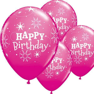 Happy Birthday Wild Berry Sparkle Latex Balloons 6ct - mypartymonsterstore