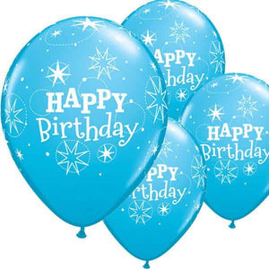 Happy Birthday Robins Egg Blue Sparkle Latex Balloons 6ct - mypartymonsterstore