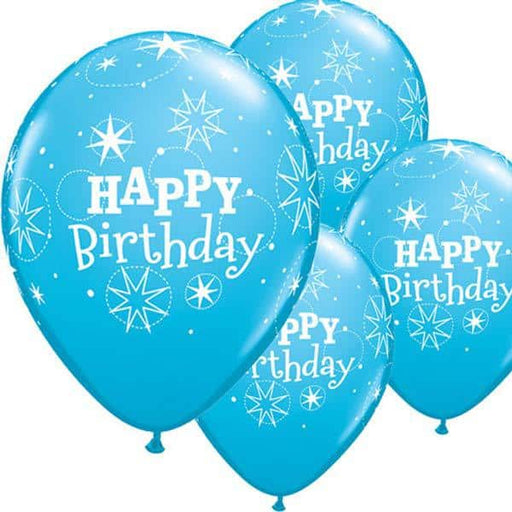Happy Birthday Robins Egg Blue Sparkle Latex Balloons 6ct