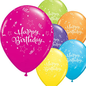 Happy Birthday Shining Star Latex Balloons 6ct - mypartymonsterstore