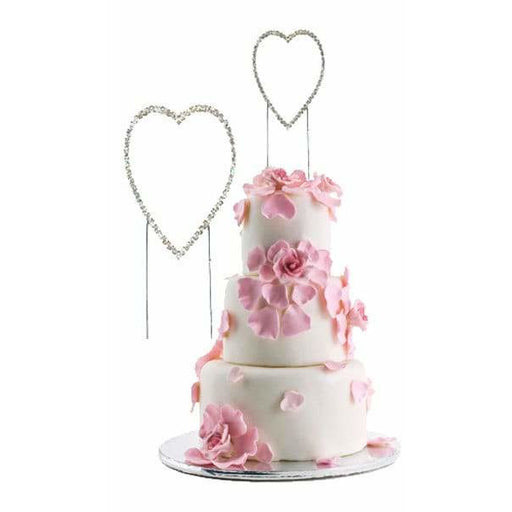 Silver Diamante Heart Shape Cake Picks