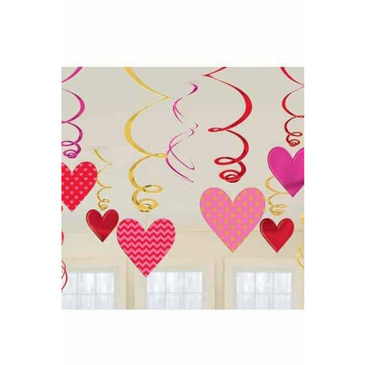Valentine Day Swirl Decorations 12pk