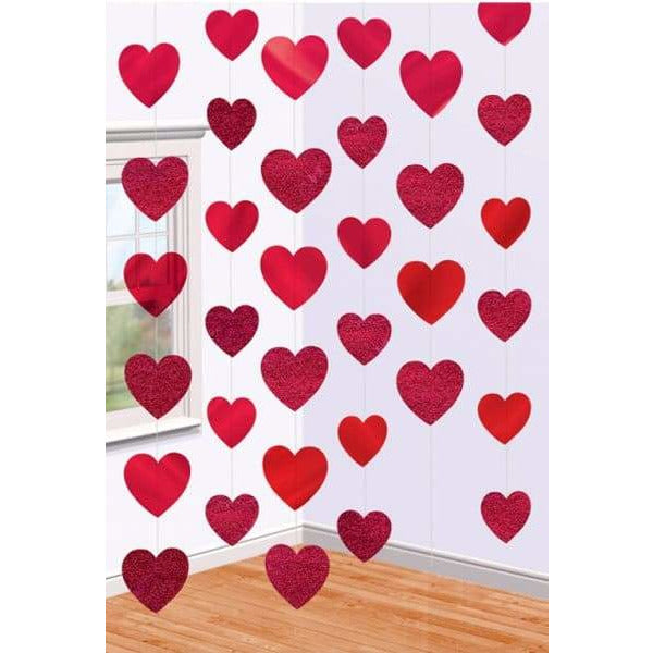 Red Candy Hearts String Decorations 6pk