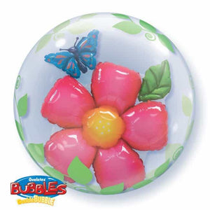 Flowers And Leaves Double Bubble Balloon - mypartymonsterstore