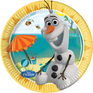 Disney Summer Olaf 20cm Paper Plates x8 - mypartymonsterstore