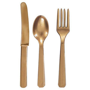 Gold Plastic Cutlery 24pk - mypartymonsterstore