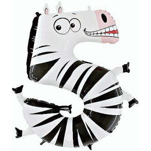 Number 5 Zebra Zooloon Balloons