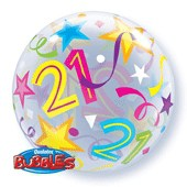 21st Birthday Brilliant Stars Bubble Balloon