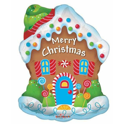 Merry Christmas Gingerbread House Supershape Balloon