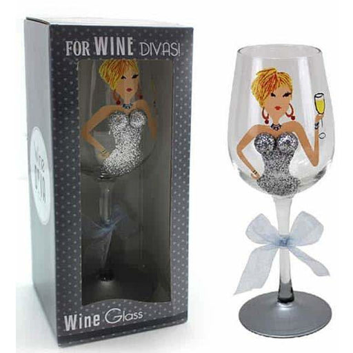 Silver Glitter Lady Wine Glass